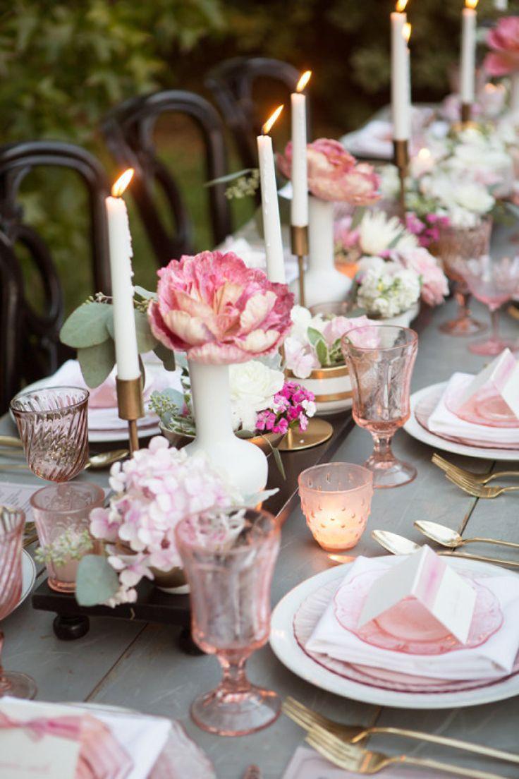 Как украсить стол на розовую свадьбу фото